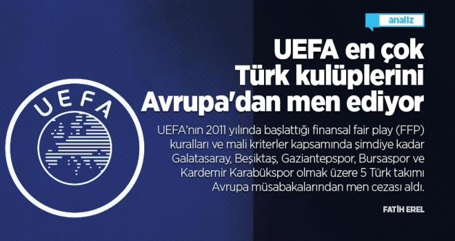 UEFA en çok Türk kulüplerini Avrupa'dan men ediyor
