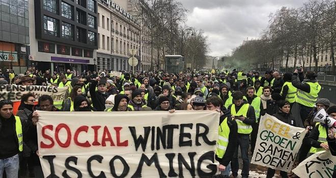 Belçika'da sarı yelekliler protestosu