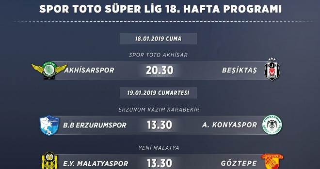 Spor Toto Süper Lig 18. Hafta Programı
