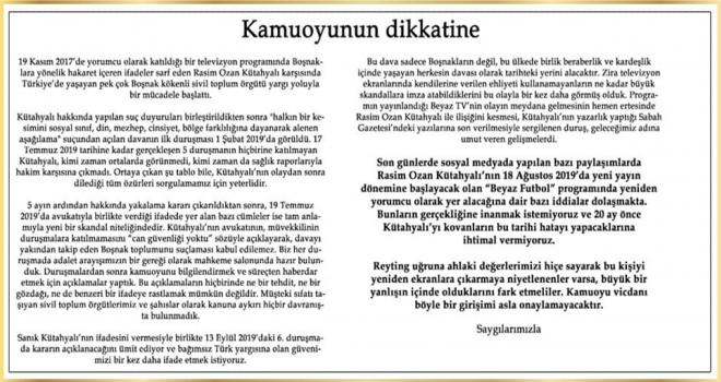 Bosna Sancak Derneği'nden önemli açıklama