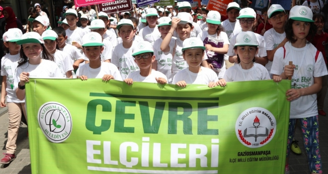 Gaziosmanpaşa'da Bin 200 Çevre Elçisi Öğrenci Dünya Çevre Günü`nü Kutladı