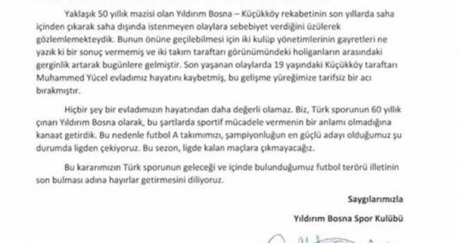 Yıldırım Bosnaspor; futbol terörü yüzünden ligden çekildi